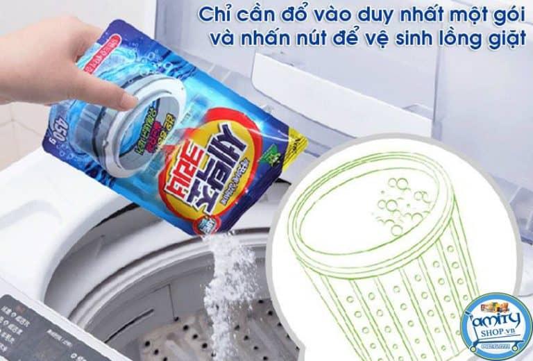 sử dụng bột tẩy máy giặt như thế nào