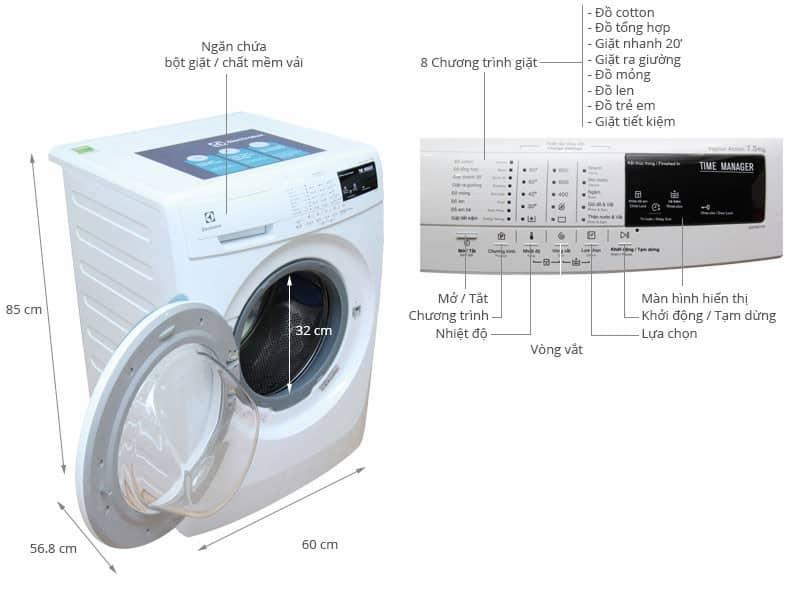 Tổng hợp kích thước của máy giặt lồng ngang.