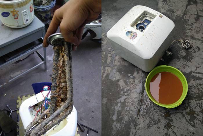 Cặn bẩn làm cho bình nóng lạnh tắc nước