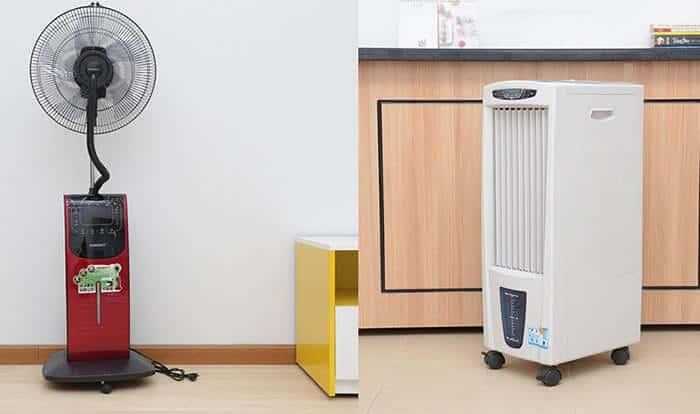 Sử dụng máy lạnh kết hợp với quạt gió hoặc chậu nước mát giúp làm lạnh phòng nhanh hơn